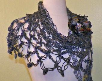 Crochet Shawl Triangle Light Gray And Dark Gray Lace Bridal Wedding Wrap Scarf Boho Summer Wrap With Flower Brooch