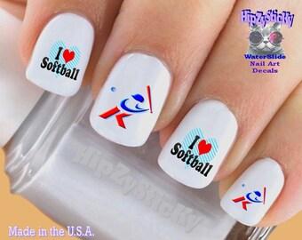 Softball Nail Art Etsy