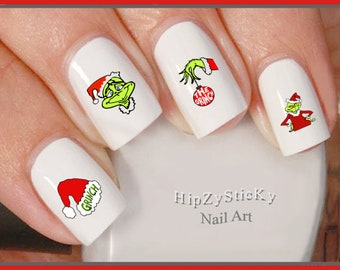 CHRISTMAS Nail Decals Christmas Grinch Green Face Red Santa Suit Nail Art Set#801X Waterslide Nail Decals Transfers Sticker Manicure Nails