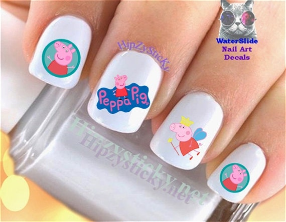 Character Nail Decals Peppa Pig Children Cartoon Nail Art Set 658 Waterslide Nail Decals Transfers Sticker Manicure Nail Accessories Salon