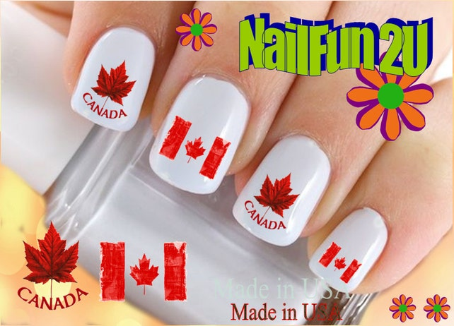 Countries Nail Decals Canada Maple Leaf Flag Nail Etsy