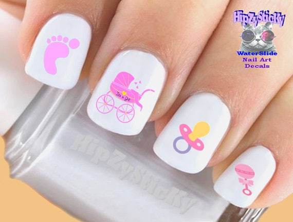 Image Nail Decals Baby Girl Rattle Pacifier Feet Etsy