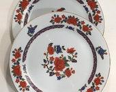 Floral Dishes Vintage Plates Set Bohemian Style Dishes Crown Ming Imari Salad Desert Plates Set