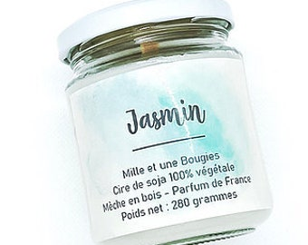 Scented candle wick in wood JASMIN / 260gr