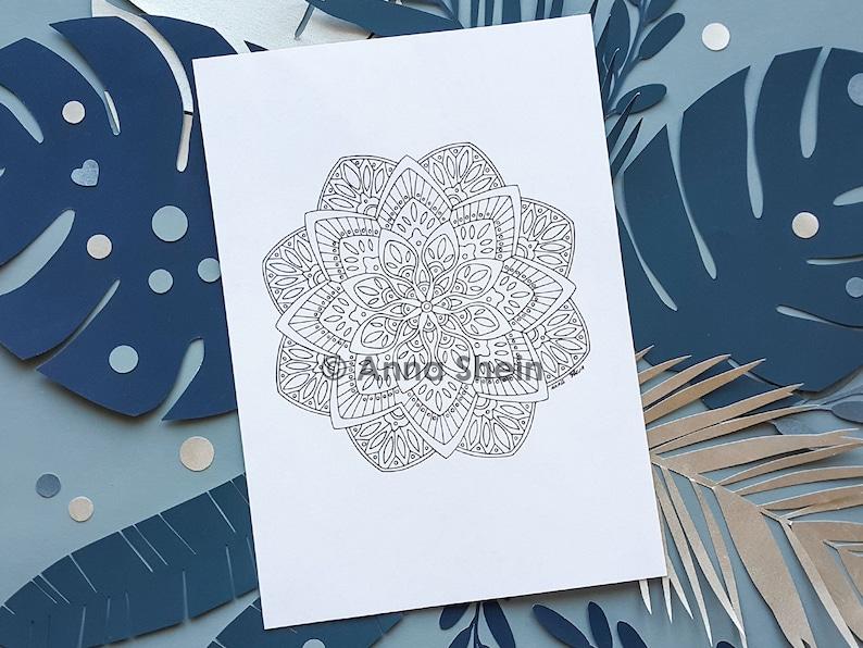 Flower Mandala Coloring Page Coloring Mandala Printable | Etsy