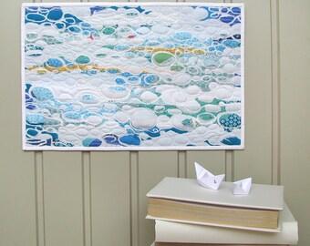Wall Hanging Quilt - White Sea - Fiber Art - Fabric Art - Wall Art - Wall Art Quilt - Art Quilt - Wall Hanging - Quilt - Home Decor