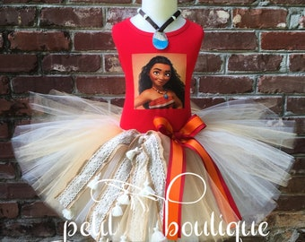 Moana Face Costume or Birthday Tutu set dress any size available 12m to 14/16y free personalization of name and age