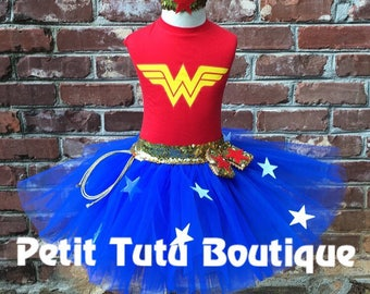 Wonder Woman Costume or Birthday Tutu set dress any size available 12m to 14/16y and Adult Small Super Hero