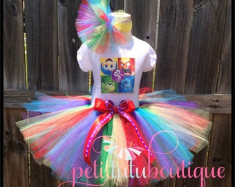Inside Out Birthday Tutu set any size available 12m to 10/12y FREE Personalization Name and Age