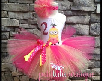 Pink Girl Minion Costume or Birthday Tutu set dress sizes 12m to 14/16y Free Personalization
