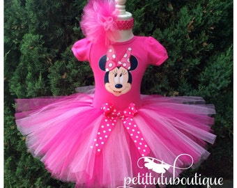 Pink Minnie Mouse Birthday Tutu set dress any size available 12m to 12y FREE Personalization of Name and Age