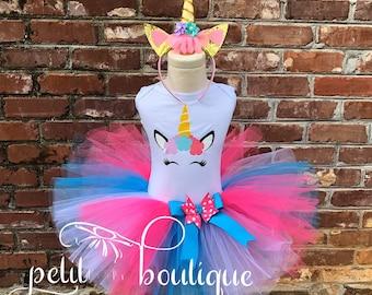 Unicorn Birthday Tutu Set size available 12m to 14/16y free personalization