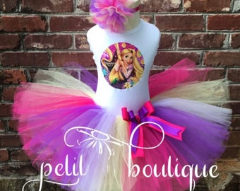 Rapunzel Tangled Birthday Tutu set any size available 12m to 16y FREE Personalization of Name and Age