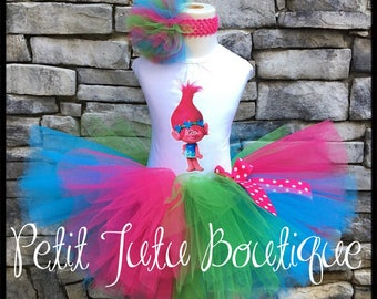 Pink Poppy Troll Birthday Tutu Set dress size available 12m to 14/16y Halloween Costume Free Personalization