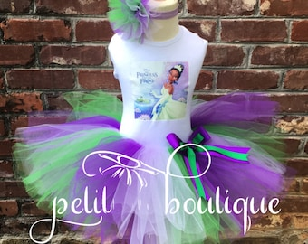 Tiana Princess and the Frog Birthday Tutu set dress any size available 12m to 16y FREE Personalization of Name and Age