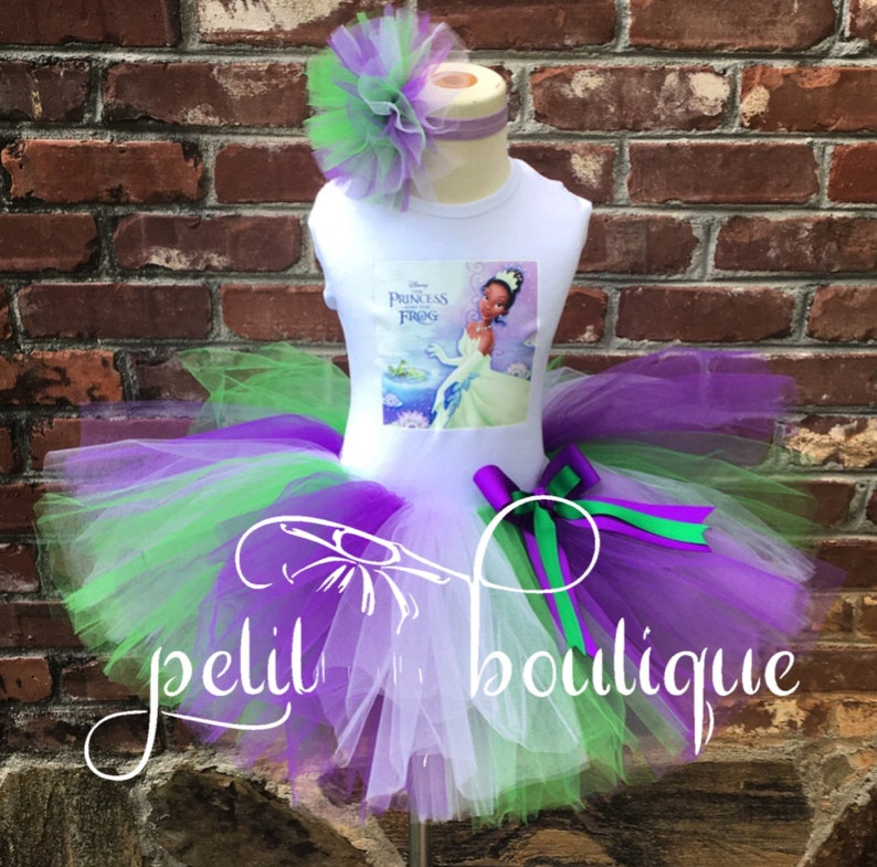 44ef7dbdad94a Tiana Princess and the Frog Birthday Tutu set any size available 12m to 14y  FREE Personalization of Name and Age