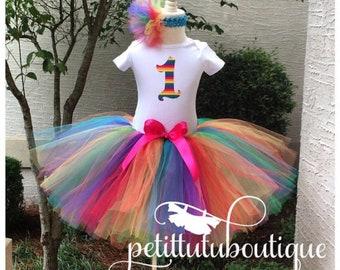 Rainbow Circus Number Birthday Tutu Set size available 12m to 14/16y free personalization