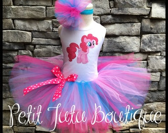 Pinkie Pie  Birthday Tutu set any size available 12m to 14/16y FREE Personalization Name and Age