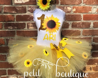 Sunflower Birthday Tutu set dress any size available 12m to 14/16y outfit by free personalization of name and age