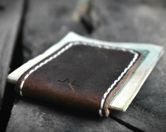 Featured listing image: Leather Cash Clip Magnetized, Personalized, Branded and Made in ALASKA, Money Holder