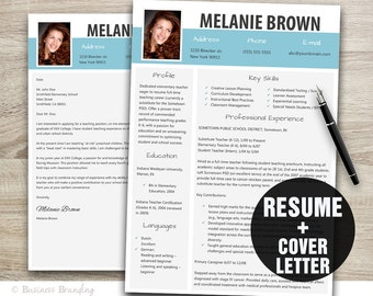 Resume Template Word Cover Letter Instant Download Modern Design CV With Photo