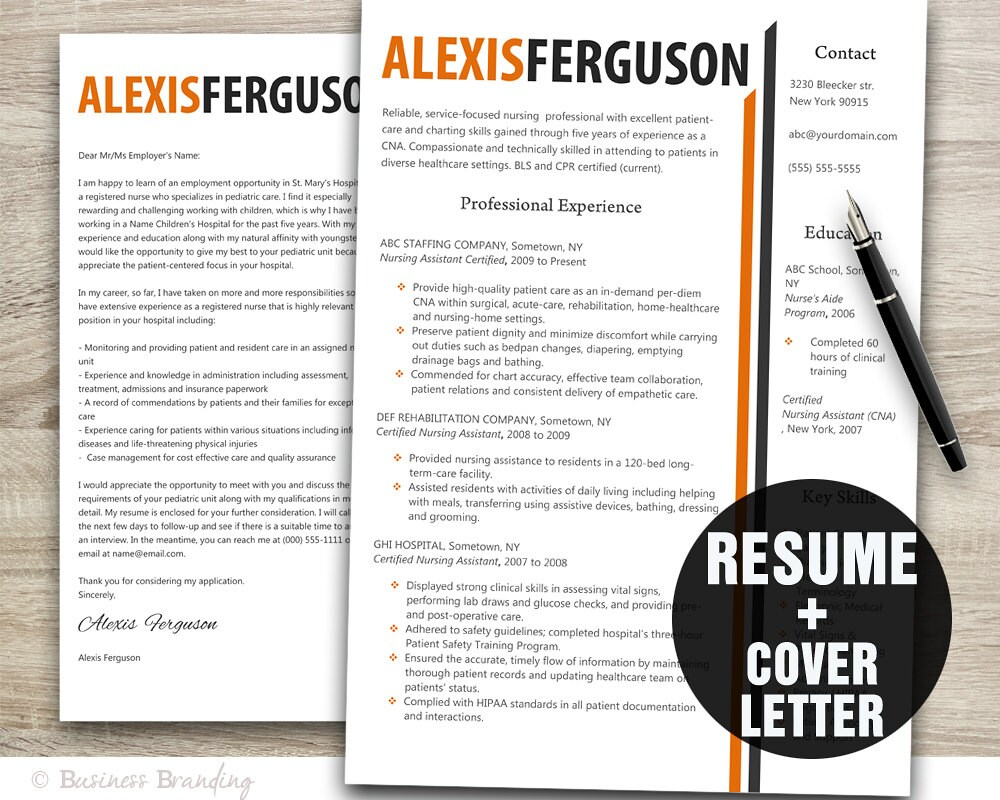 Orange Grey Resume Template Word / Cover Letter Template / | Etsy