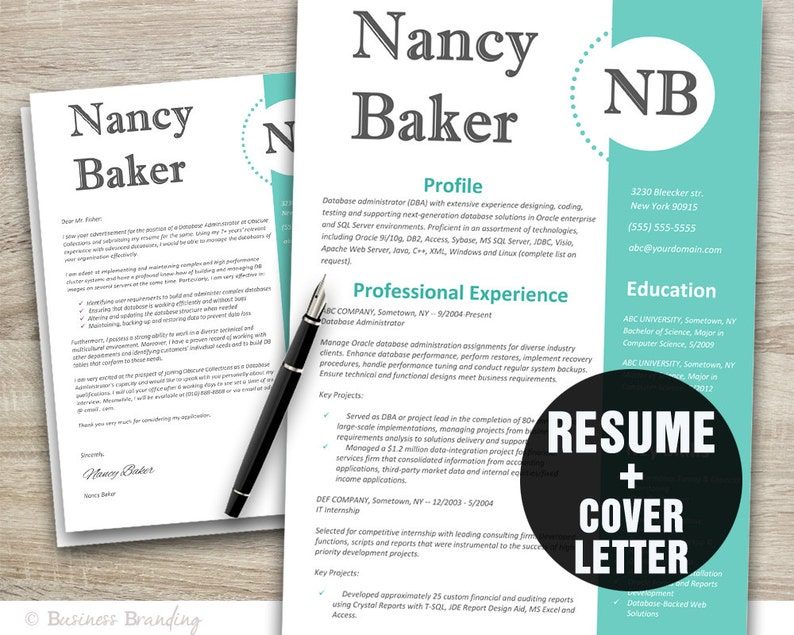 Creative Resume Template - Resume Cover Letter Template - CV Template  Instant Download - Resume Download - Teacher Resume Template