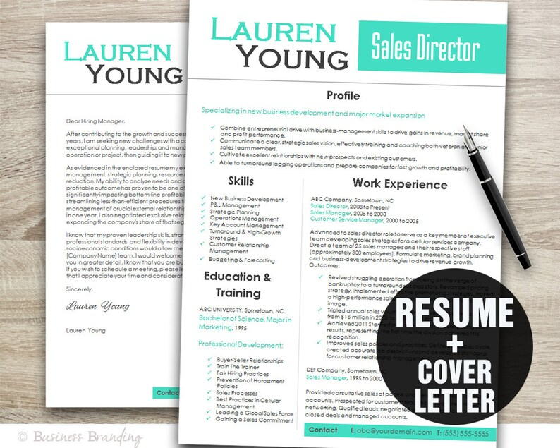 Teal Design Resume Template - Cover Letter Template - Instant Download