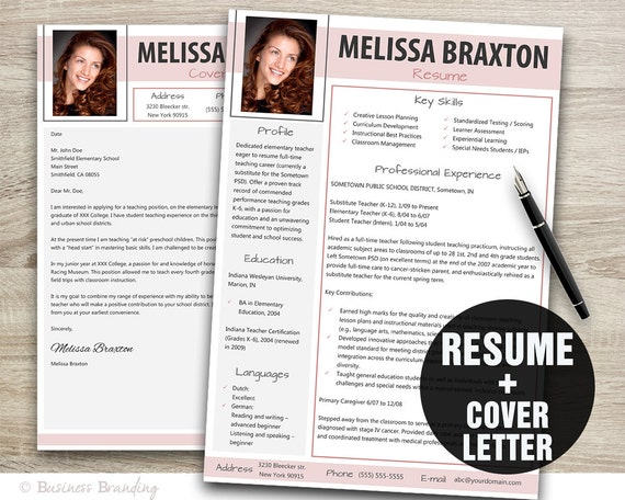 Teacher Resume With Photo Resume Cover Letter Template Etsy