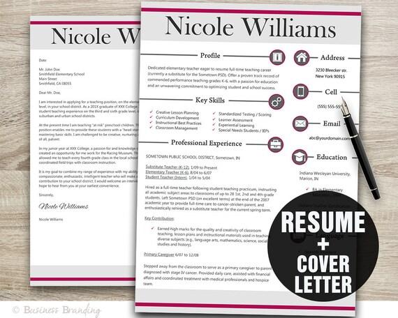modern teacher resume template resume cover letter template etsy