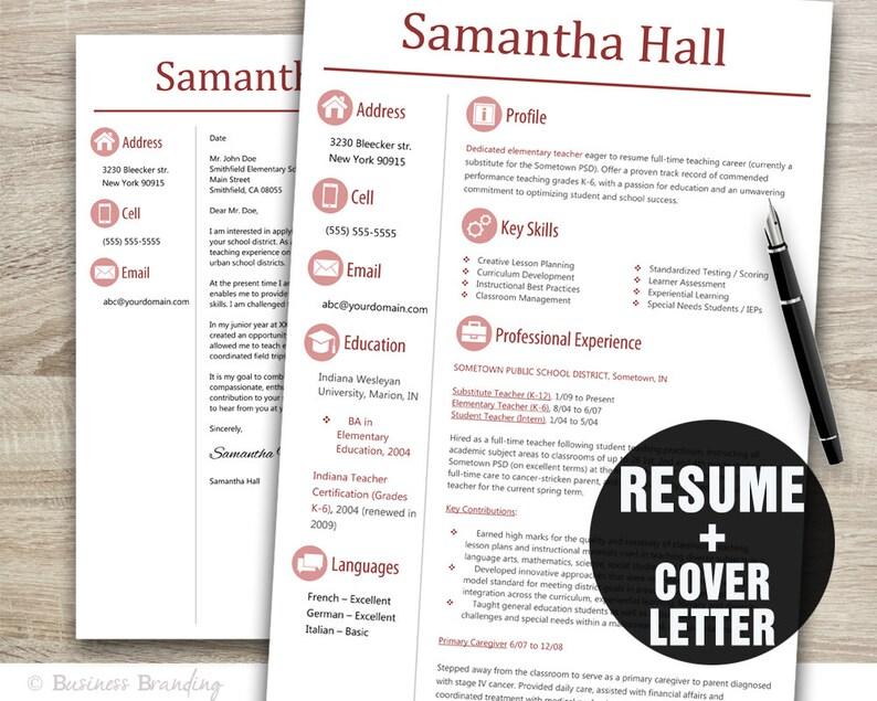 TEACHER Resume Template Sleek Design Cover Letter