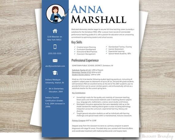 TEACHER Resume Template - Resume Cover Letter Template - Professional  Resume Instant Download - Resume Download - Custom Resume Design