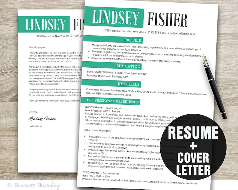 Classy Resume Template Instant Download Cover Letter