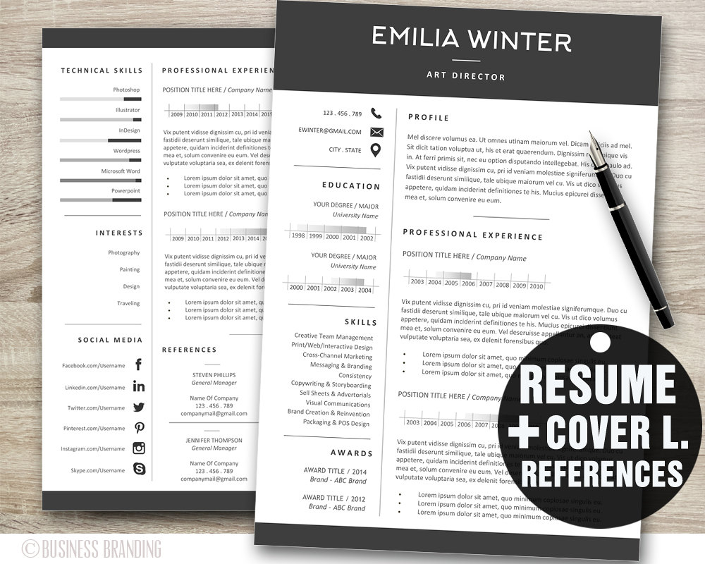 resume template and cover letter references section