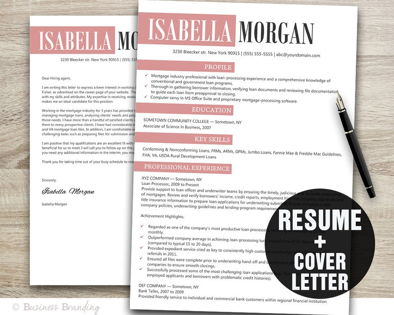 Creative Resume Template Resume Cover Letter Template Cv Template Instant Download Resume Download Resume Template Word