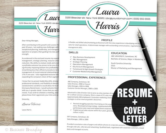 teal design resume template cover letter template