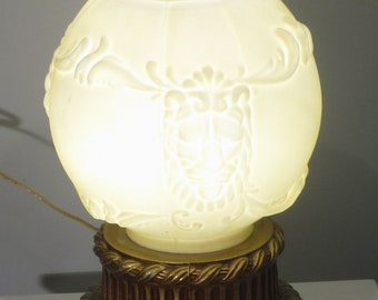 Great Vintage Retro White Marbled Effect Opaque Shade Antiques 20th Century