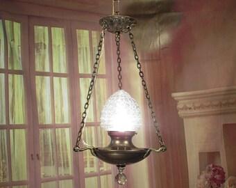 Antique Vintage Chandelier Pan Center Glass Petite Accent 1 Light Restored