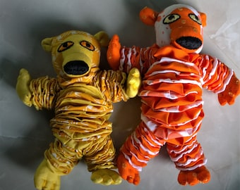 Wild Bear Soft toy Yo-Yo's Children Hand made One of a Kind Multi colour padukas Product made in Indian Fabric