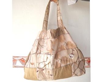 Multipurpose Shopping bag: Oversized, Patchwork, Indian Upcycled Designer fabric, pocket, string tie adjusts size