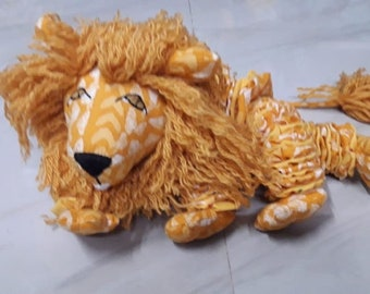 Lion King Soft Toy Yo-Yo's Children Hand made One of a Kind in shades of yellow padukas product made with Indian Fabric Bestseller
