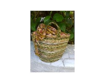 "Picnic Basket-Medium, Storage, Upcycled Fabric  11"" Tall, 10 "" Round, Medium Size Handles, Gathering Fabric Top"