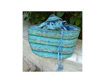 "Picnic Basket-Extra Wide & Large, Storage, Upcycled Fabric  10.5"" Tall, 12"" X 16"" Oblong Base, Medium Size Handles, Gathered Fabric Top"