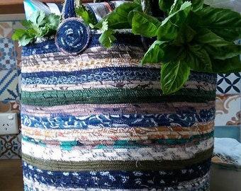 """Shopping Basket-Large, Storage, Upcycled Fabric  13.5 Tall, 12 """" Round, Medium Size Handles"""