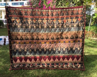 Kaffee Fasset Inspired Trees Queen Quilt in  Burgundy Rust Black Creme