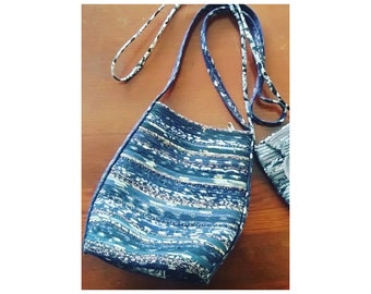 """Shoulder Bag, Murse, Men's Purse, Women's Hipster Purse, Upcycled Fabric  10.5"""" Tall, 9 """" Wide, Long Strap 23"""""""