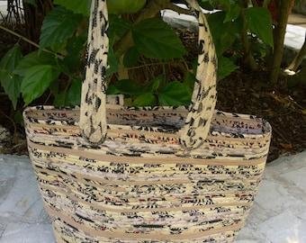 """Shopping Basket-Medium, Storage, Upcycled Fabric  11"""" Tall, 10 """" Round, Medium Size Handles"""