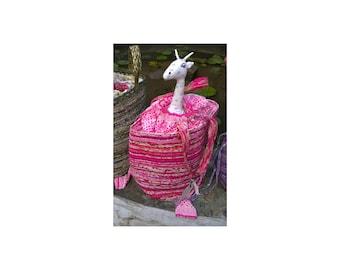 "Picnic Basket-Large, Storage, Upcycled Fabric  13.5 Tall, 12 "" Round, Medium Size Handles, Gathered Fabric Top"