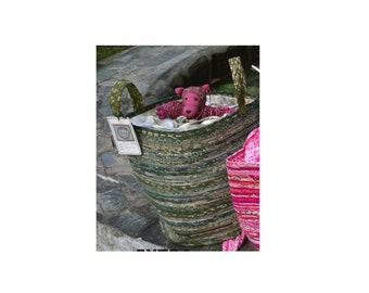 "Picnic Basket-Extra Large, Storage, Upcycled Fabric  15"" Tall, 14 "" Round, Medium Size Handles, Gathered Fabric Top"