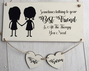 Best Friend Wooden Sign Gift Mate Christmas Personalised Birthday Present For Bestie